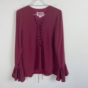 Stone Cold Fox Silk Powell Lace Up Blouse Blouse